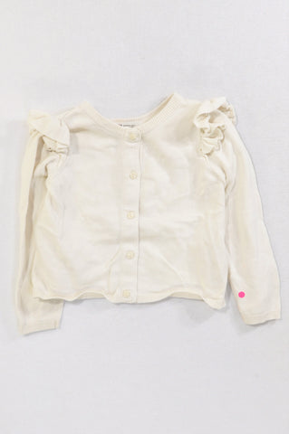 H&M Ivory Ruffle Shoulder Frill Detail Cardigan Girls 2-4 years