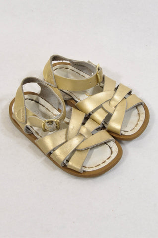 Salt Water Size 8 Gold Leather Sandals Girls 2-3 years