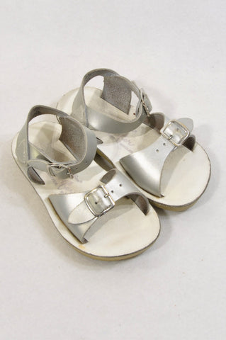 Salt Water Size 7 Silver Buckle Split Leather Sandals Girls 2-3 years