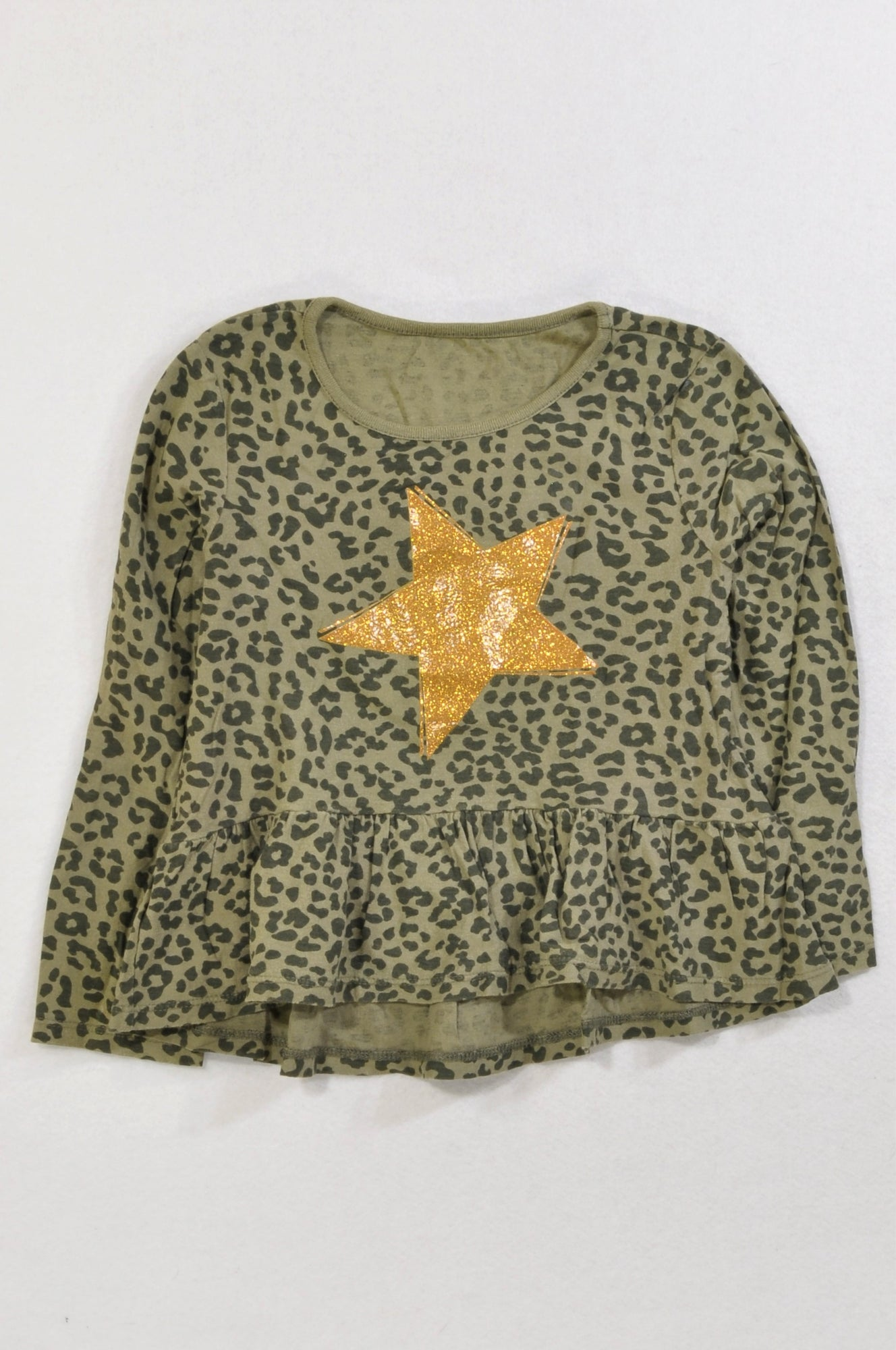 0cac62e9307 Woolworths Olive Leopard Print Gold Star Baby Doll T-shirt Girls 5-6 years