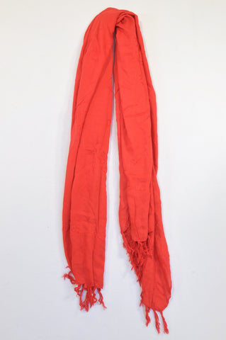 Unbranded Red Embroidered Tassel Shawl Scarf Women One Size