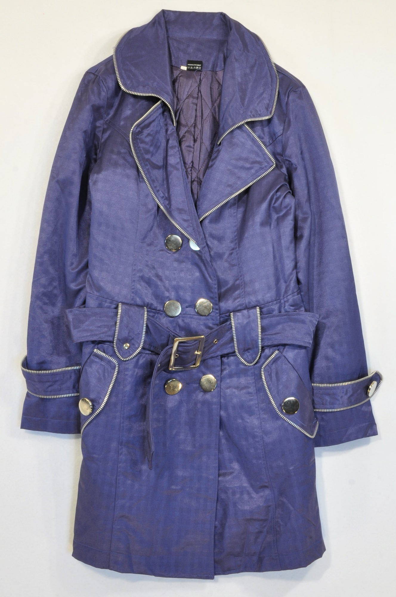New KeTuWa Purple Silver Hardwear Trench Coat Women Size M