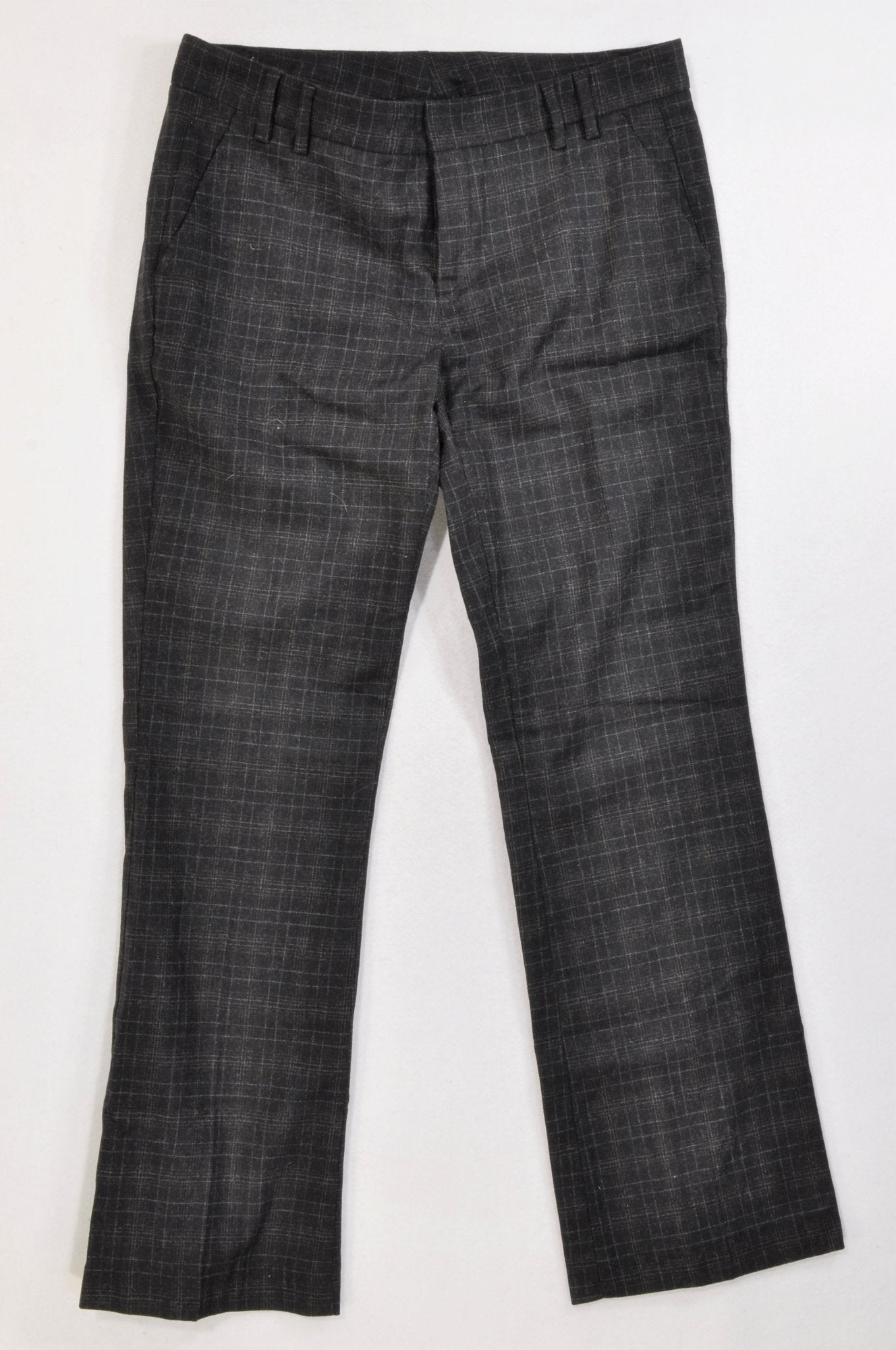 United Colours of Benetton Black & Charcoal Plaid Wool Blend Trouser Pants Women Size 12