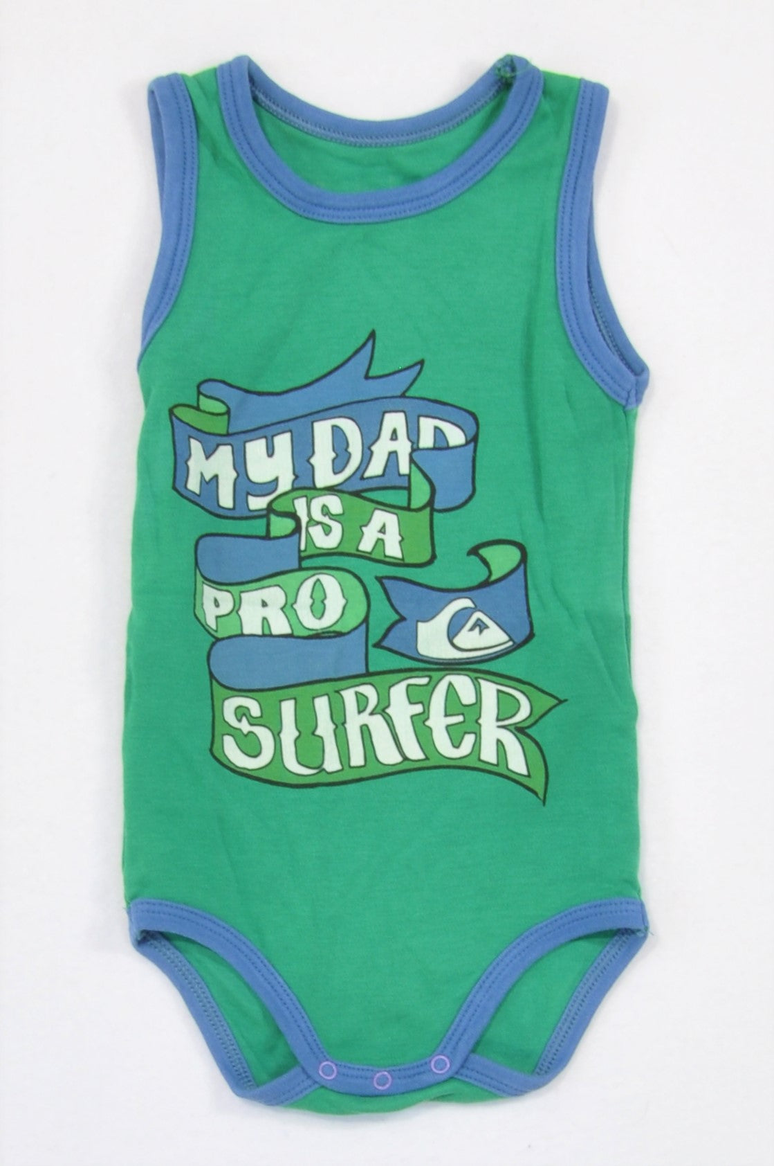 Quiksilver Green My Dad Surfer Baby Grow Boys 6-9 months