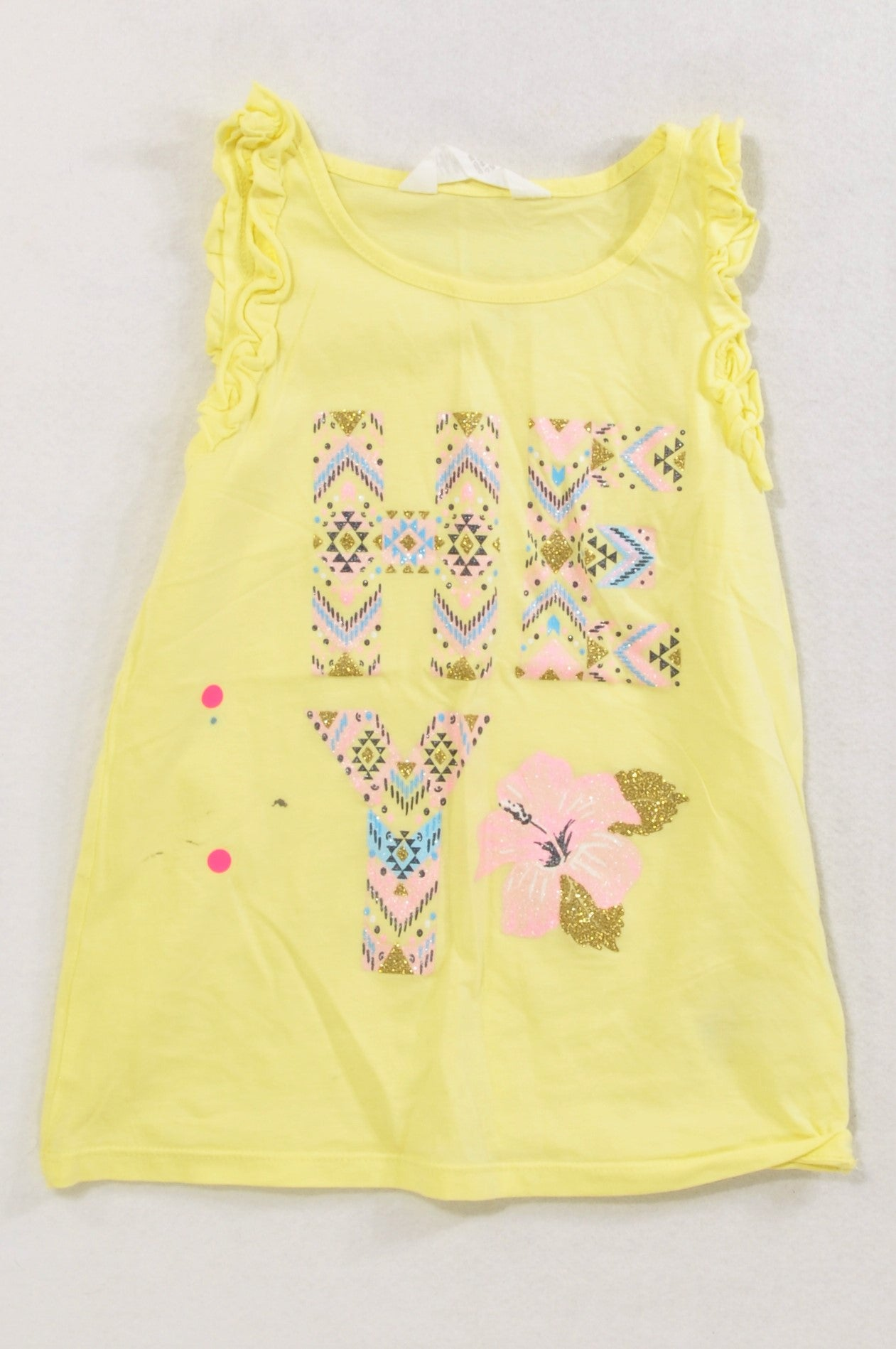 Woolworths Yellow Tribal Hello Frill Tank Top Girls 0-3 months
