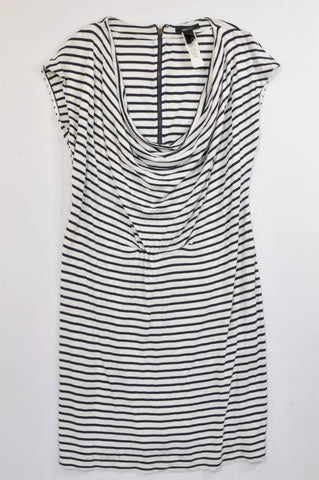 Mango Navy Stripe Waterfall Neckline Dress Women Size L