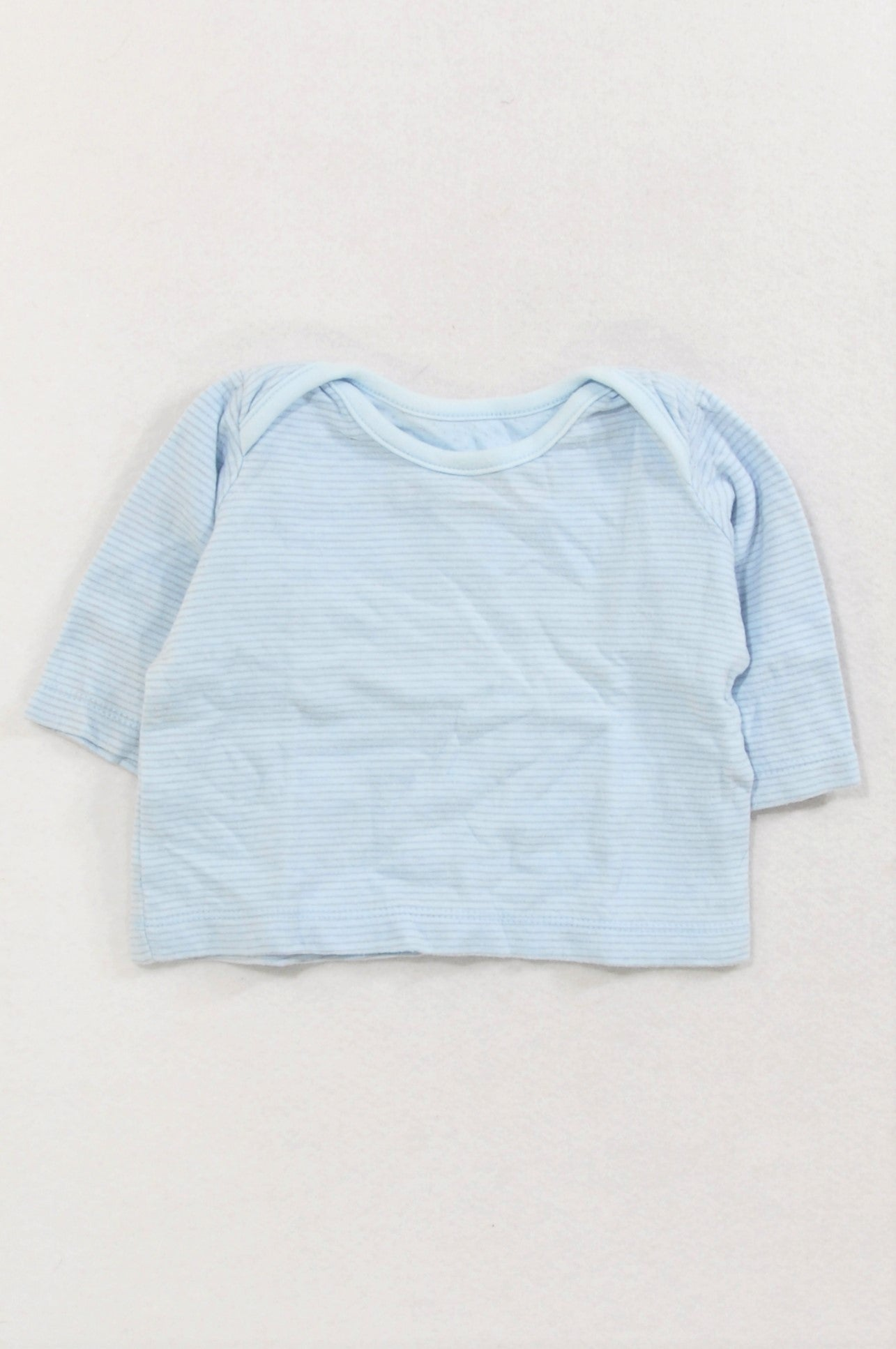 Woolworths Soft Blue Thin Grey Striped T-shirt Boys 3-6 months