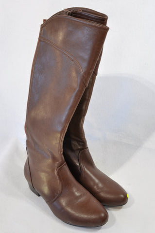 Woolworths Brown Knee High Elastic Panel Boots Women Size 5