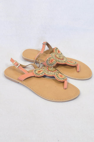 Woolworths Peach Embellished Leather Sandals Women Size 4