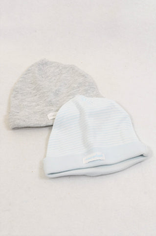 H&M 2 Pack Organic Cotton Soft Blue & Grey Beanies Unisex 0-1 month