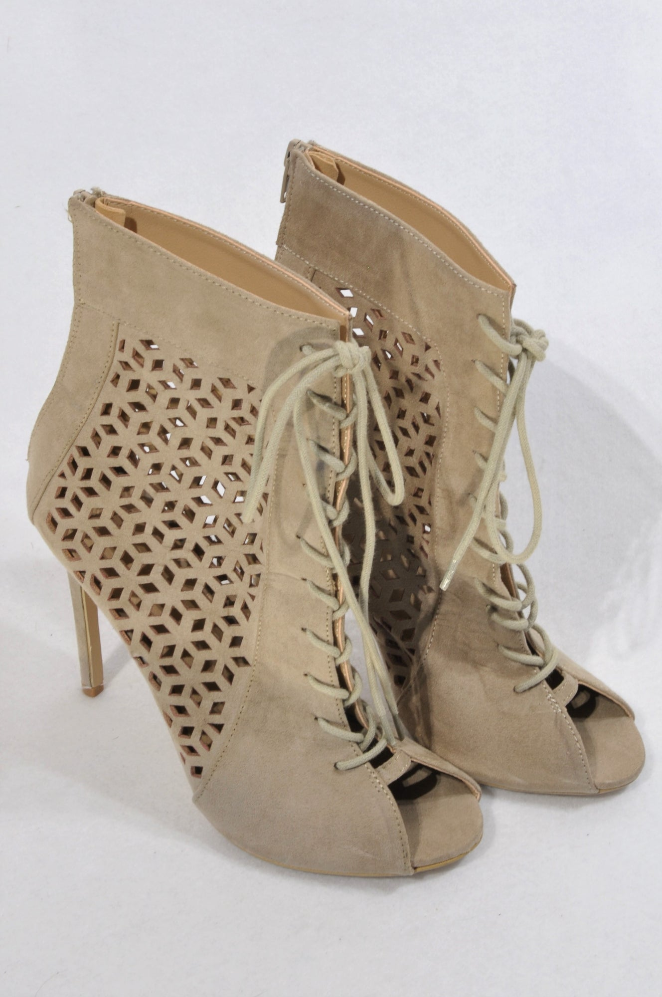 Woolworths Nude Faux Suede Cut Out Lace