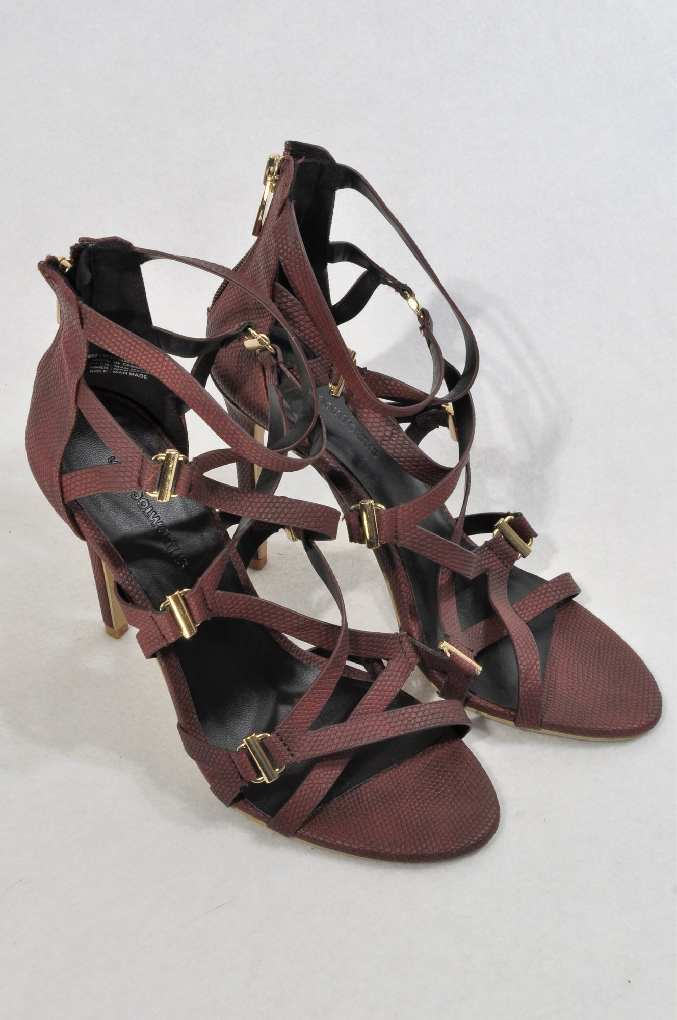 Woolworths Burgundy Faux Snake Skin Strappy Shoes Women Size 5