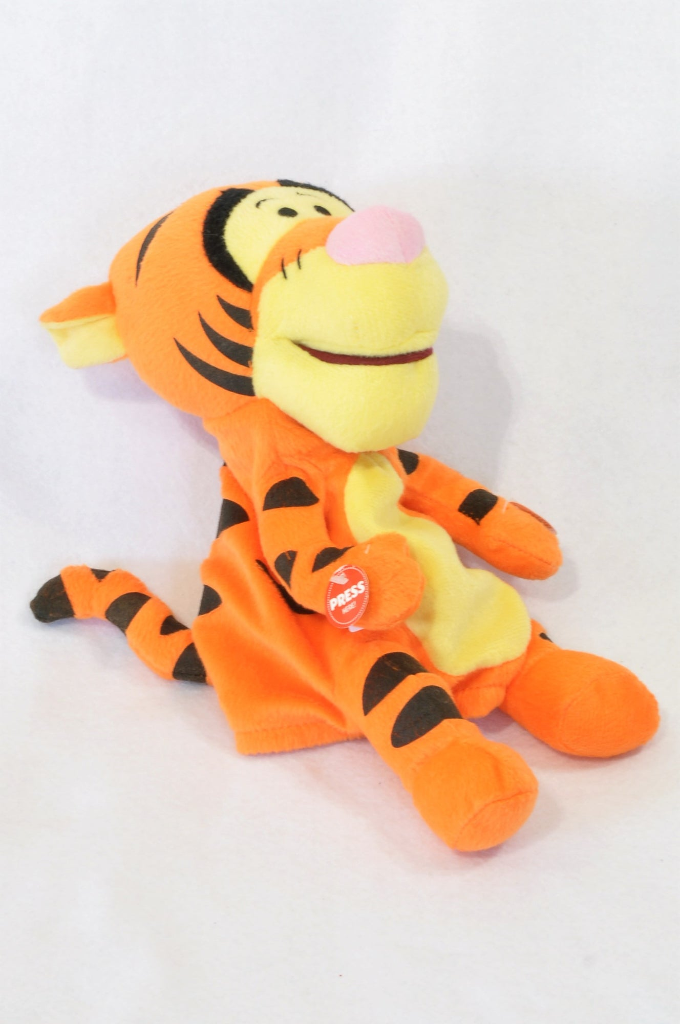 New Unbranded Orange Striped Hand Puppet Musical Tigger Toy Unisex 3-10 years