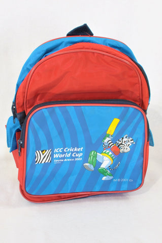 New Unbranded Red & Blue ICC Cricket Backpack Boys 3-10 years