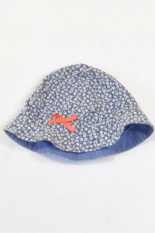 Marks & Spencers Dusty Blue Ditsy Print Lined Sun Hat Girls 3-6 months