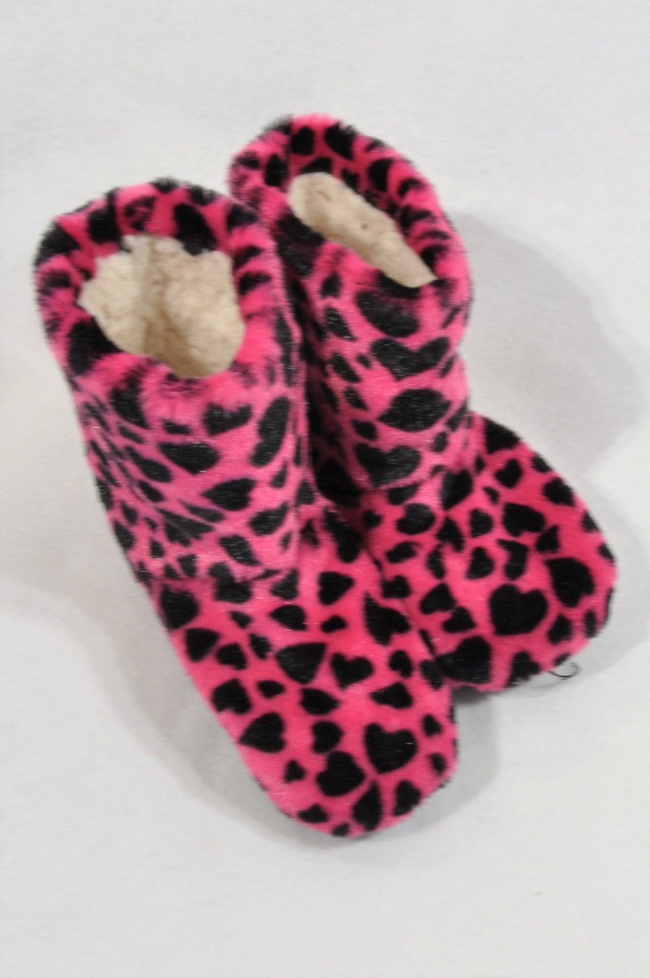 New Unbranded Size 9 Hot Pink Leopard Fleece Slippers Girls 3-4 years