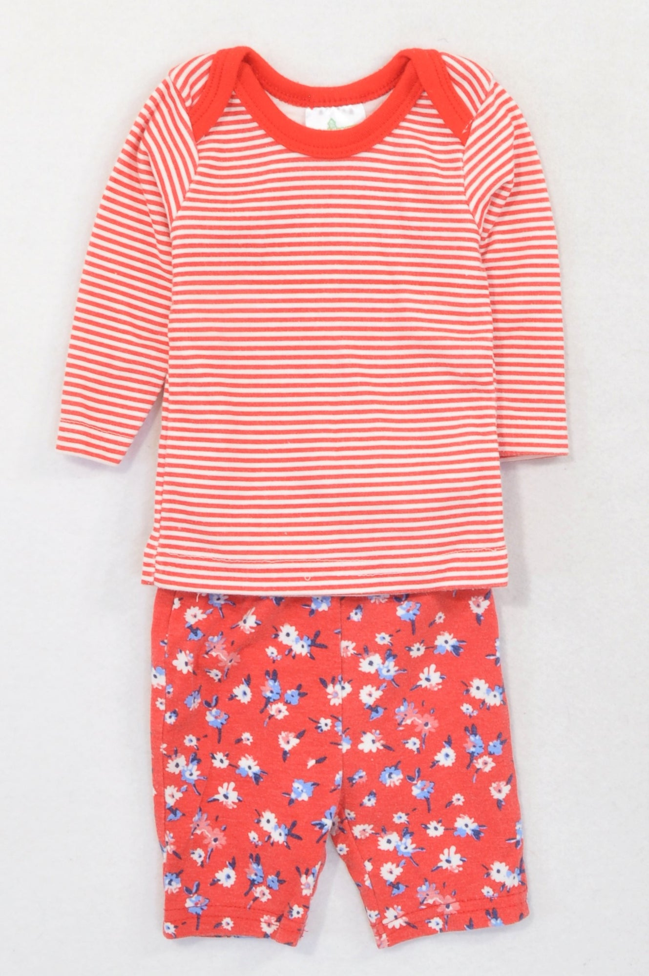 Pep Red Stripe Shirt & Floral Cropped Leggings Outfit Girls 0-3 months
