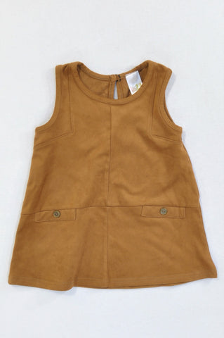 Edgars Coffee Faux Suede Button Dress Girls 12-18 months