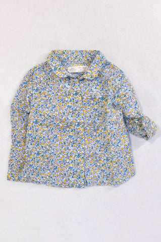 Zara Dusty Blue Yellow Flower Blouse Girls 18-24 months