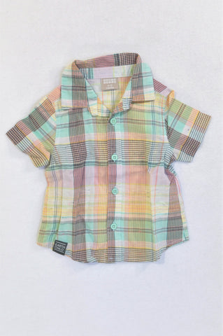 Earthchild Green & Yellow Plaid Lightweight Shirt Girls 6-12 months