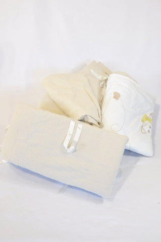 Unbranded White Bear Large Cot Night Frill, Bumper & Pillow Linen Bundle Unisex N-B to 2 years
