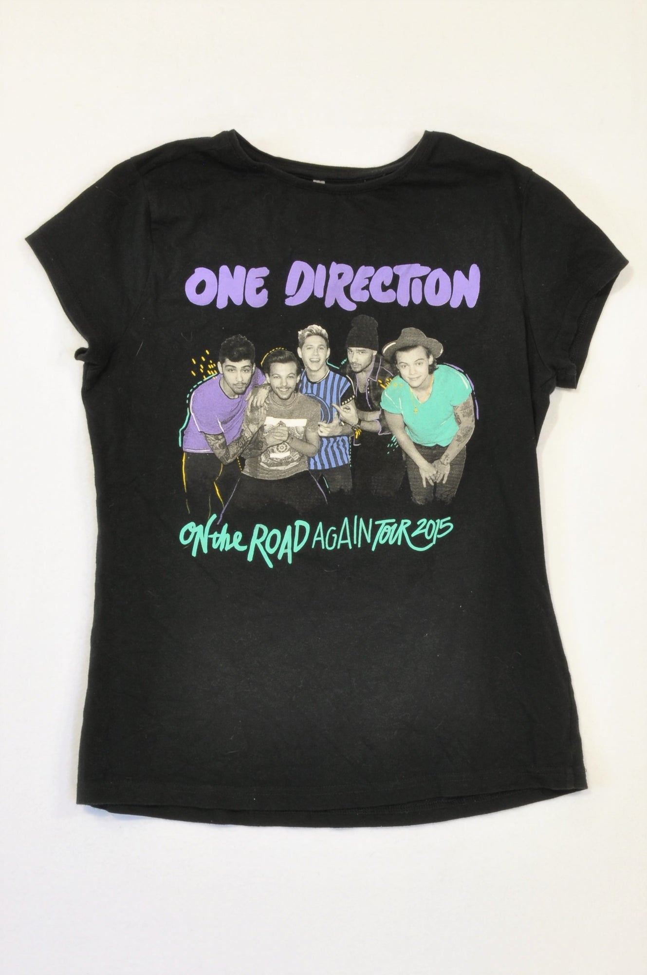 Unbranded Black One Direction T-shirt Unisex 7-8 years