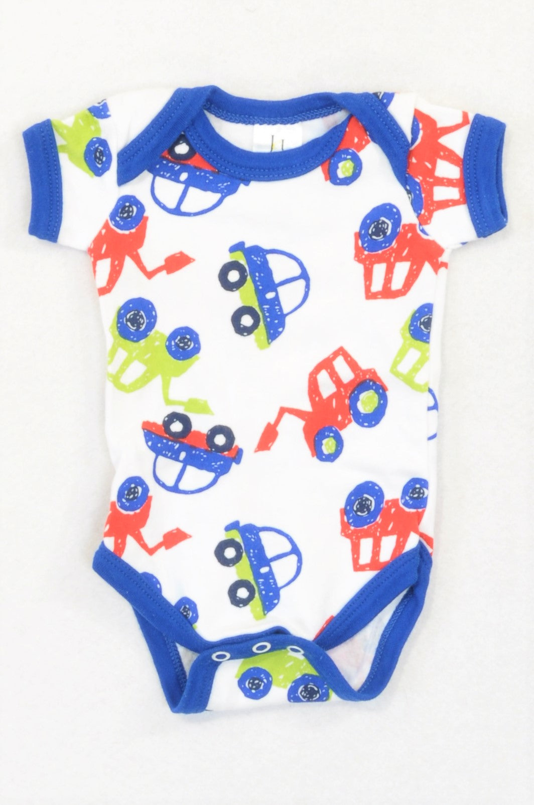 Jet Bright Blue & Red Cars Baby Grow Boys 0-3 months