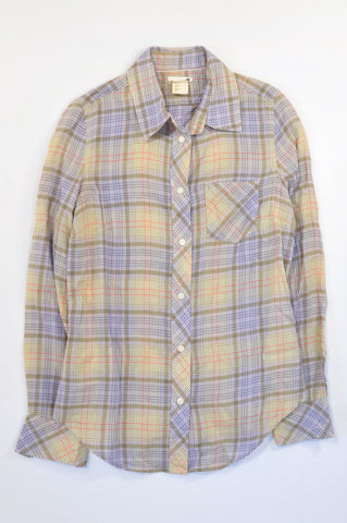 Levi's Purple & Lime Plaid Lightweight Shirt Women Size XS