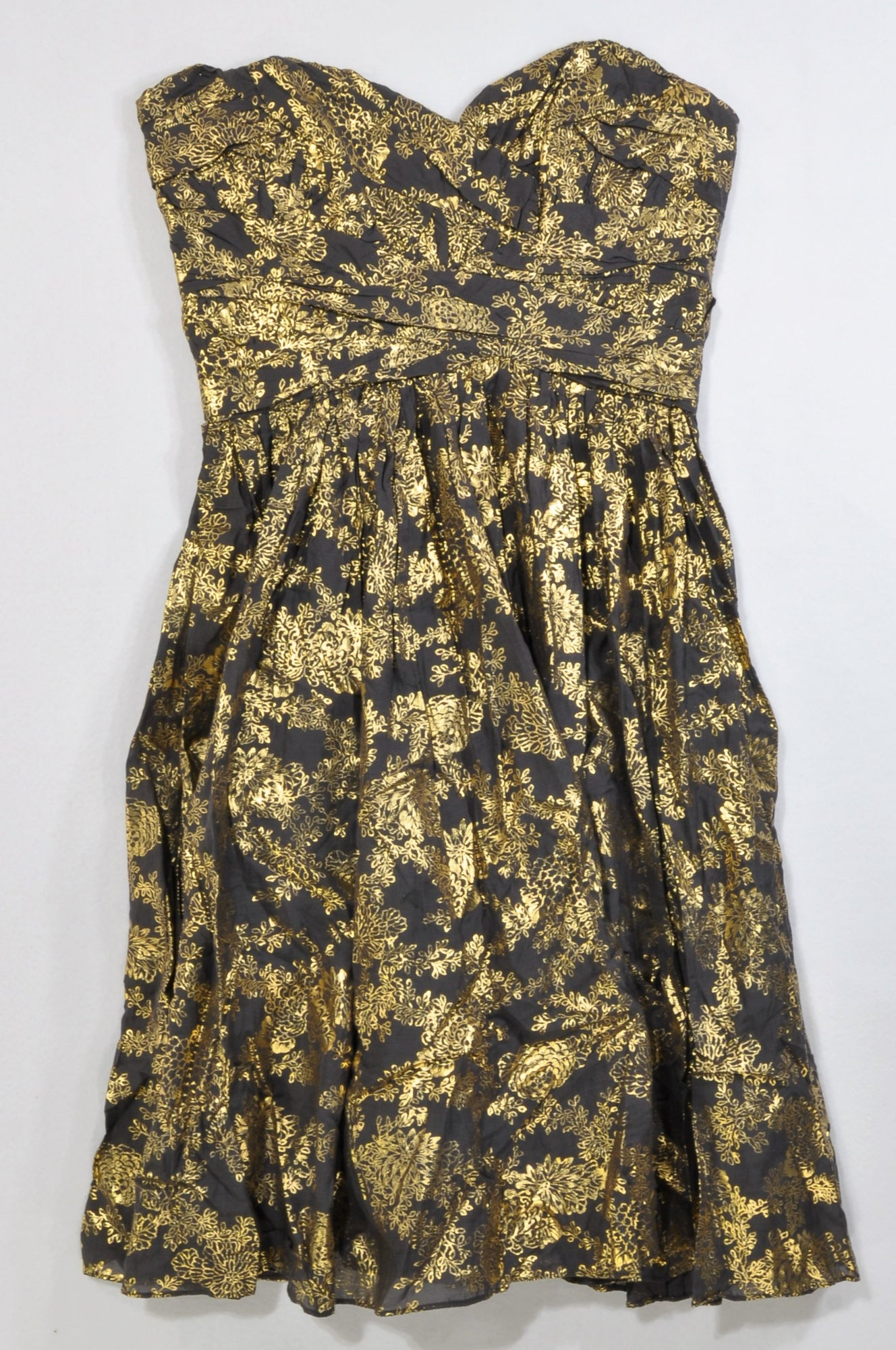 New French Connection Gold Print Charcoal Sweetheart Cocktail Dress Women Size 12