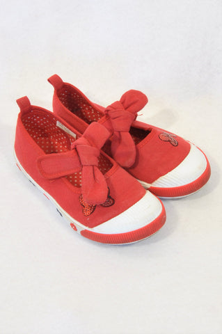 Ackermans Size 9 Red Bow Sequin Detail Shoes Girls 3-4 years