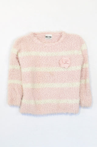 Edgars Soft Pink Broad Stripe Knit Flower Jersey Girls 4-5 years
