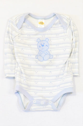 Pick 'n Pay Blue Striped Teddy Baby Grow Boys 3-6 months