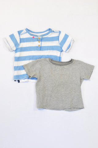Woolworths 2 Pack Blue & Grey Striped T-Shirts Boys 1-3 years