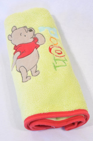 Unbranded Light Green Red Trim Fleece Pooh Bear Blanket Unisex N-B to 2 years