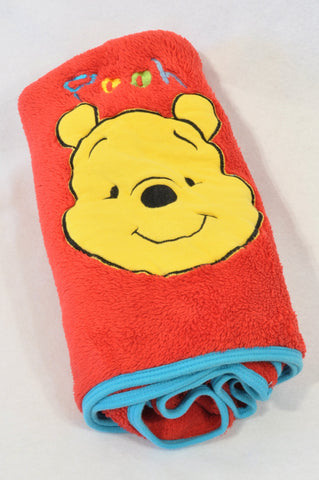 Unbranded Red Fleece Pooh Bear Blue Trim Blanket Unisex N-B to 2 years