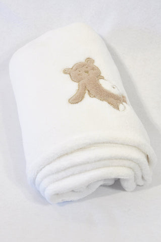 Unbranded White Fleece Teddy Blanket Unisex N-B to 2 years