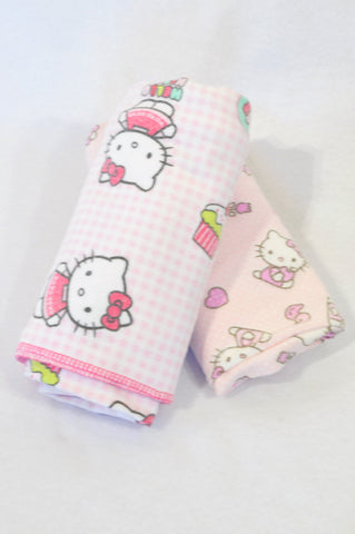 Sanrio 2 Pack Soft Pink Hello Kitty & Dotty Receiving Blankets Girls N-B to 2 years