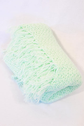 Unbranded Green Knit Tassle Blanket Unisex N-B to 2 years