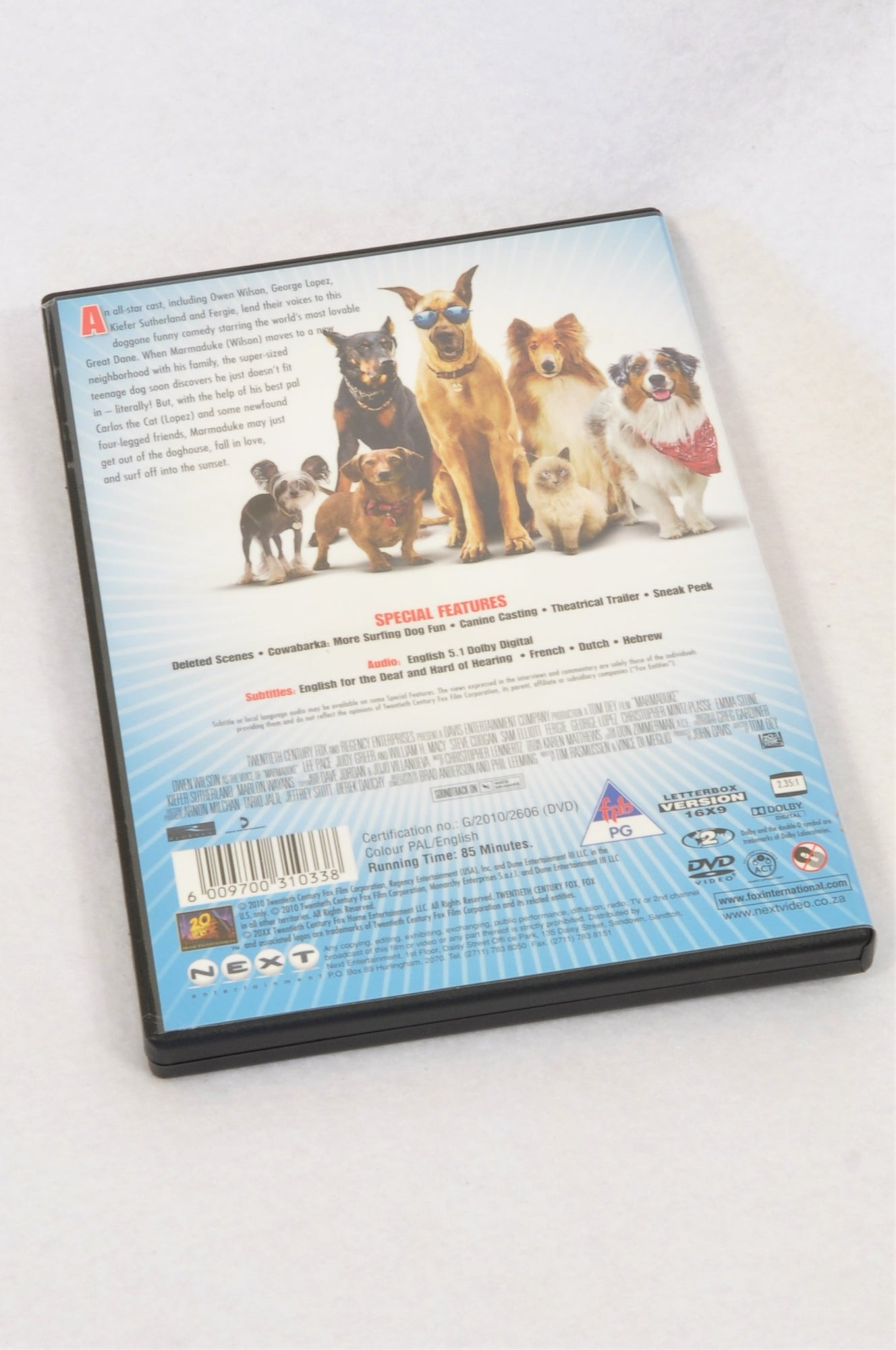 Twentieth Century Fox Marmaduke Kids DVD Unisex 3-10 years