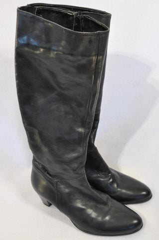 Lavorazione Artigiana Black Leather Knee High Boots Women Size 4