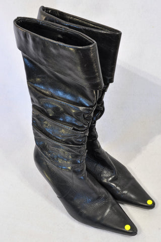 Daniella Michelle Black Leather Pointed Boots Women Size 4
