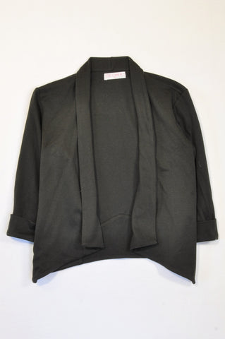 Jolie Comme Moi Black Cropped 3/4 Sleeve Waterfall Blazer Women Size M