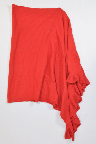 Woolworths Red Ruffle Trim Knit Poncho Jersey Women One Size