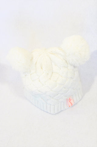 Naartjie White Pom Pom Cable Knit Beanie Girls 18-24 months