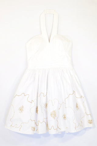 Ted Baker White Gold Embroidered Petticoat Halter Dress Women Size 10