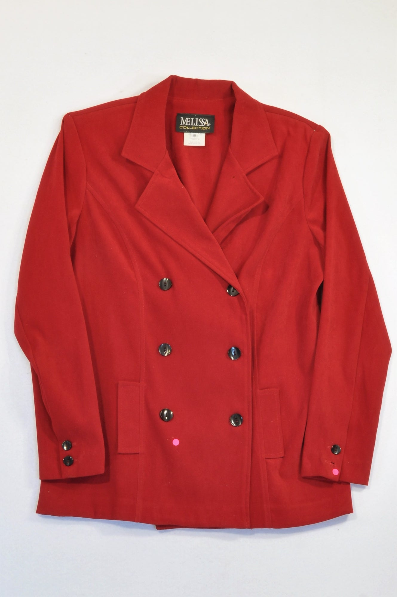 Melissa Collection Red Soft Material Double Breasted Jacket Women Size 10