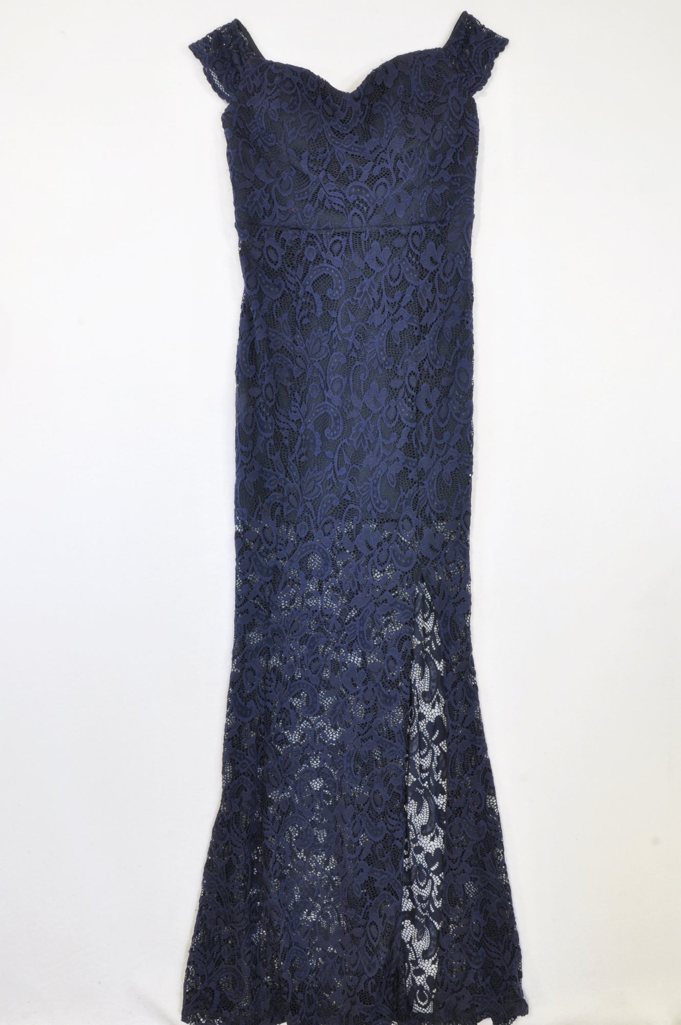 YDE Navy Lace Overlay Slit Dress Women Size 6