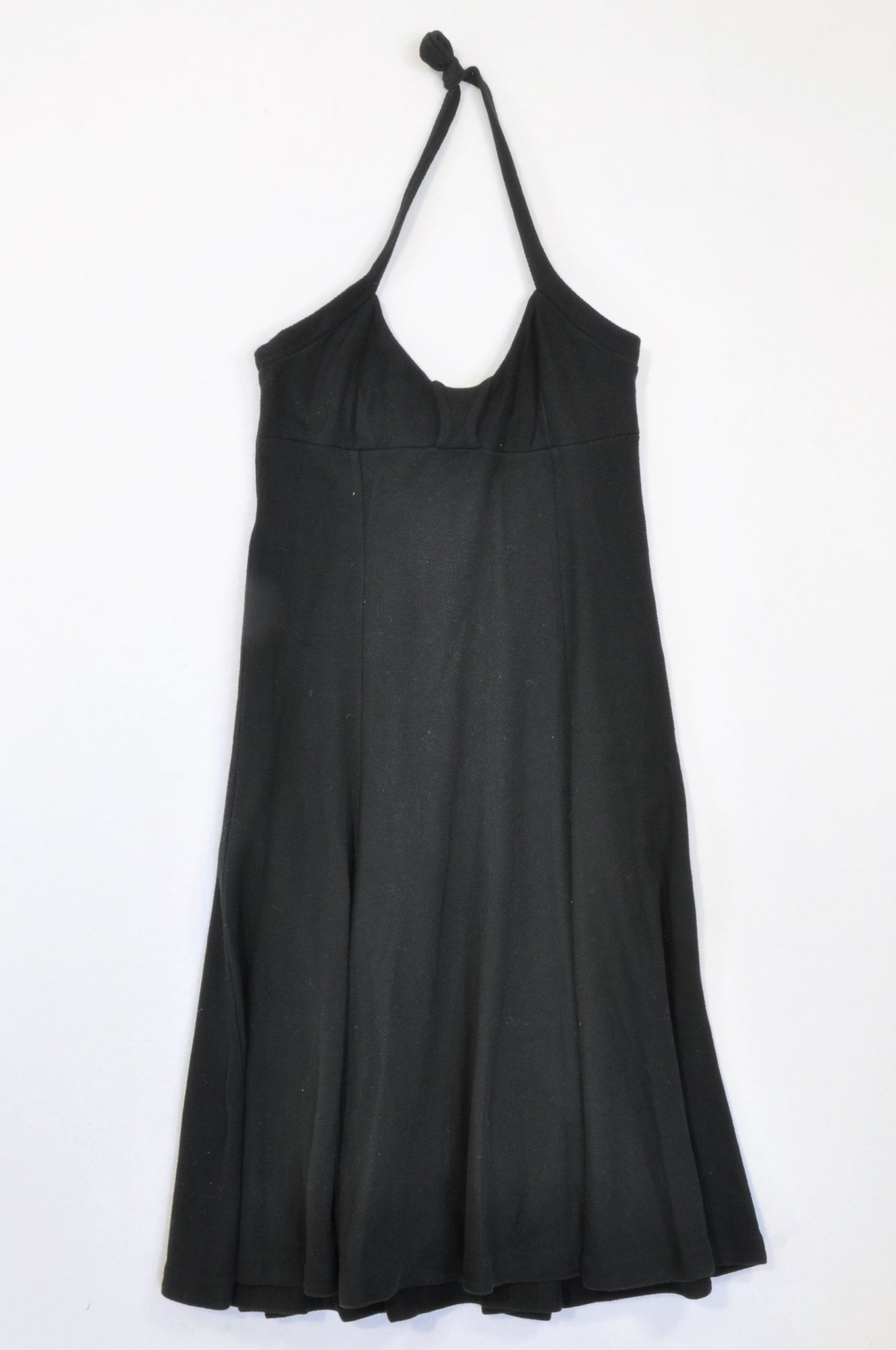 Mango Black Textured Halter Neck Dress Women Size S