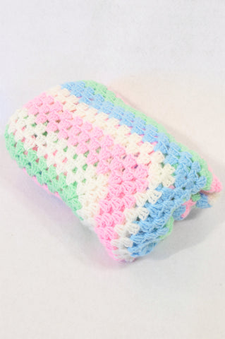 Unbranded Pink Blue & Green Crochet Blanket Girls N-B to 1 year
