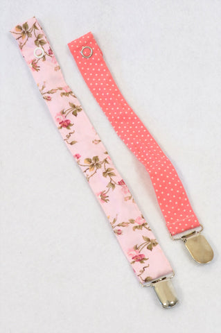 Unbranded 2 Pack Pink Rose & Cerise Dotty Dummy Clips Girls N-B to 2 years